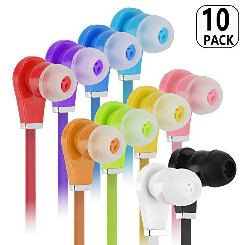 Bulk Earbuds with Microphone - Wholesale 10 Pack Earphones Noodle Headphone with Mic Multi Colored Ear Buds Bulk for School Classroom Students Kids and Adult ()