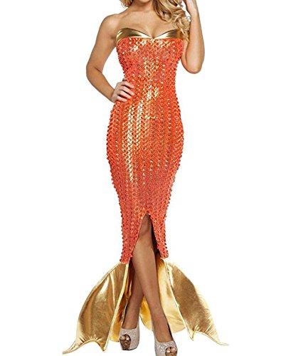 n Deluxe Orange Mermaid Costumes Cosplay Sexy Mermaid Size:M ()