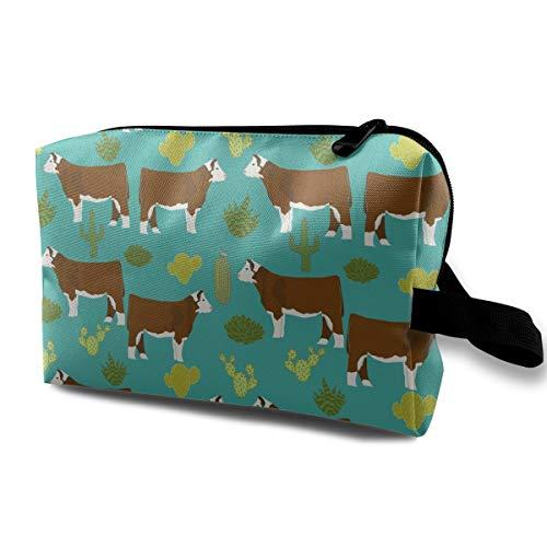 SKYLIHGT Hereford Cow Canvas Toiletry Bag Multifunction Cosmetic Bag Portable Makeup Bag Waterproof Travel Hanging Organizer Bag