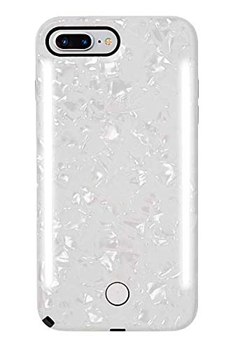 iPhone 8+ // iPhone 7+ // iPhone 6s+ // iPhone 6+ Selfie Phone Case LuMee Duo Phone Case Bumper Case White Marble Front /& Back LED Lighting Variable Dimmer Shock Absorption
