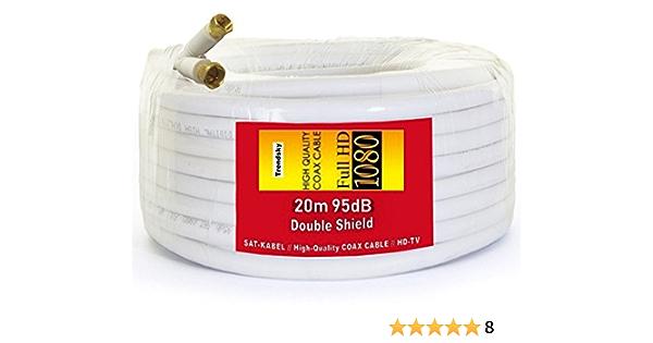 TRENDSKY® Cable coaxial para antena de satélite (20 m, acero y cobre, para televisión Full HD, 3D, DVB-S/S2 DVB-C y DVB-T BK, televisión digital, ...