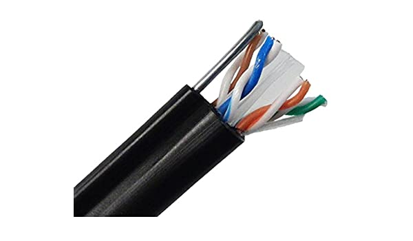 Cat6 550Mhz AERIAL CABLE Shielded UV Outdoor W// Messenger 1000ft FREE SHIP