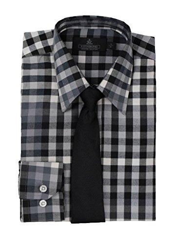 Vittorino Boys Long Sleeve Cotton Plaid Dress Shirt and Matching Tie, Grey/Black, 10/12