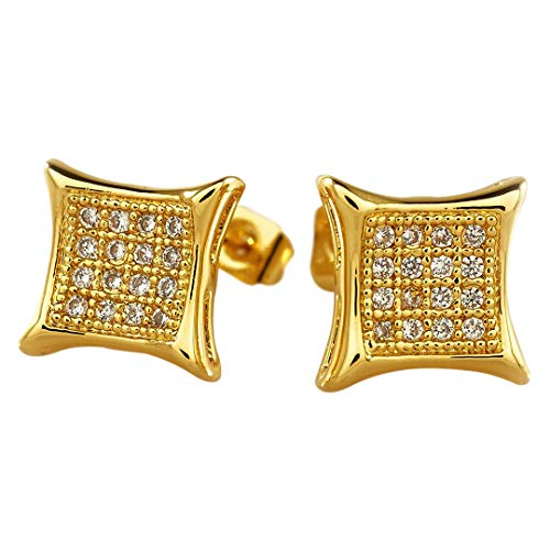 Niv's Bling -18K Gold Plated/Black Rhodium Plated/Rhodium Plated/Gold Plated Canary Cubic Zirconia Earrings - Iced Out Kite Square Stud Micropave CZ Earring Pair, For Men or Women
