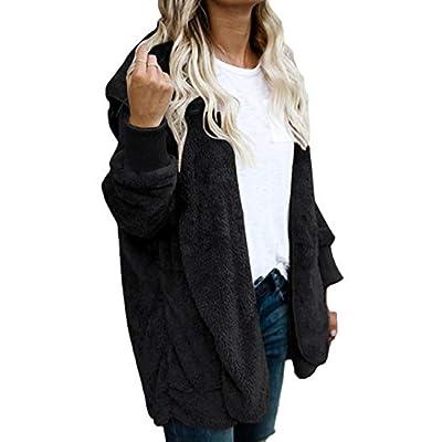 Women Hoodie Winter Casual Plus Size Baggy Furry Cardigan Coats at Women's Clothing store