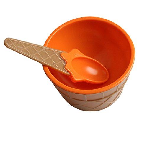 (Fan-Ling 1set Kids Plastic Ice Cream Bowl Spoon Set,Durable Children Gifts,Lovely Colorful Dessert Bowl (Orange) )