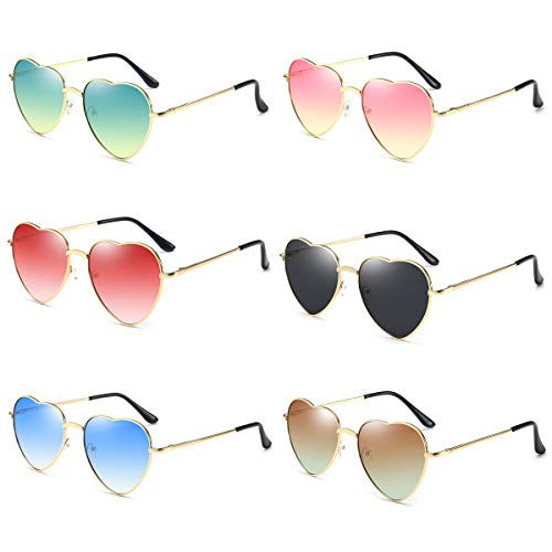 Dollger Sunglasses Pack Heart Shape Aviators Sunglasses Style for Women (Set of 6)