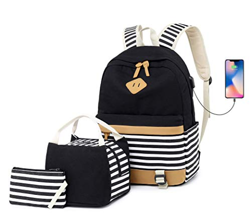 b725ae43ba Canvas Backpack Set Travel Womens Laptop Backpack with USB Charging Port  15.6 inch Casual Daypack Teen