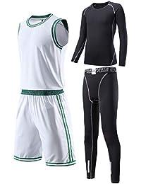 3/4 Pcs Boys Atheletic Compression Pants & Shirts Set Thermal Baselayer