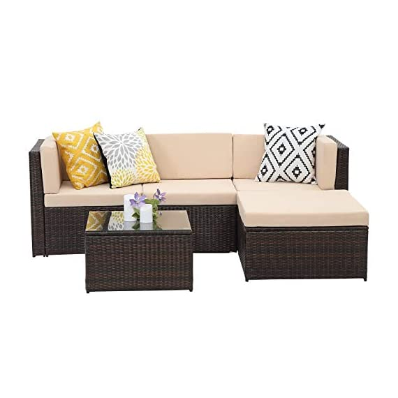 Wisteria Lane Outdoor Sectional Patio Furniture,5 Piece Wicker Rattan Sofa Couch with Ottoma Conversation Set Brown Wicker,Beige Cushions - EXCELLENT QUALITY - Constructed from strong galvanized steel frame and commercial grade hand woven weather-resistant PE rattan won't rust or fade. A handsome décor to your patio, garden, park, or yard. UPGRADED COMFORT - This contemporary outdoor sectional sofa comes with 3-inch thick lofty sponge padded seat cushions and back cushions, wide and deep set will provide enough room to seat 4-6 friends comfortably ATTRACTIVE & PRACTICAL - This sectional sofa set can be placed in an endless number of configurations which able to fit a variety of living space styles and setting - patio-furniture, patio, conversation-sets - 410zkEseDNL. SS570  -