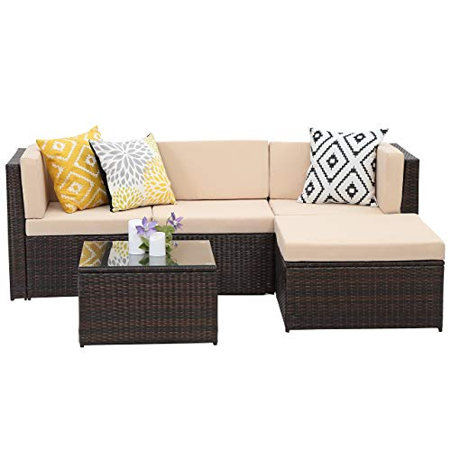 Wisteria Lane Outdoor Sectional Patio Furniture,5 Piece Wicker Rattan Sofa Couch with Ottoma Conversation Set Brown Wicker,Beige Cushions