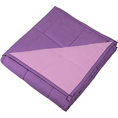 Image of Weighted Blanket for Kids or Adult (10 lbs, 72 x 48, Lavender and Pink Cotton Duvet) Calming Covers B07JYBH7FZ Weighted Blankets