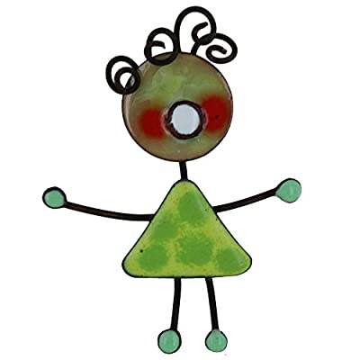 Les Poulettes Jewels - Brooche Pin's Green Enameled Doll Green Peas