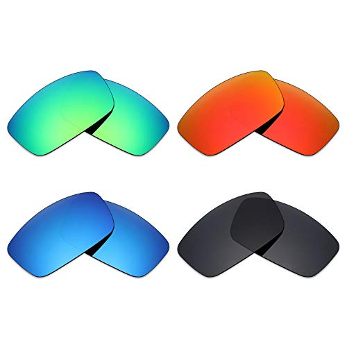 Mryok 4 Pair Polarized Replacement Lenses for Spy Optic Logan Sunglass - Stealth Black/Fire Red/Ice Blue/Emerald Green (Spy Optic Logan)