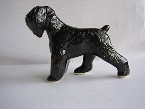Black terrier faience figurine, handmade, porcelain dog figurine