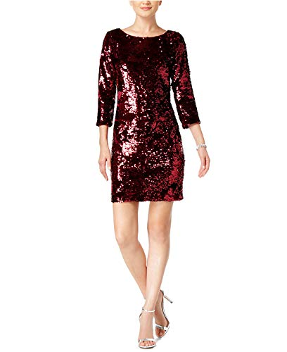 - Vince Camuto Womens Velvet Sequined Sheath Dress 8 Wine
