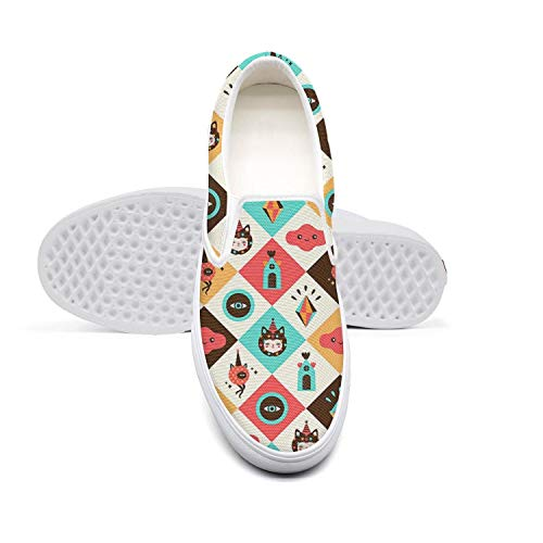 Beautiful Women Lazy Canvas Slip-On Shoes Cartoon cat Magic Pattern Casual RunningLoafers