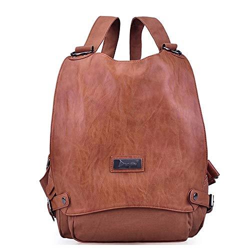 Front À Bags De main Backpack sac Capacité Brown Buttons Dark Coffee à Main Tout Fourre Canvas Grande sombre Women's QZTG Sacs IqH7pw