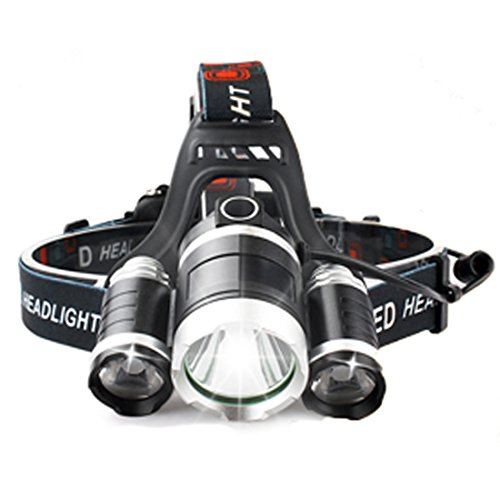 Siruida LED Headlamp Flashlight - Zoomable 4 Modes 6000 Lumen Super Bright 3T6 LED Headlight with Adjustable Headband, USB Rechargeable for Camping, Fishing, Hunting, Hiking,2x18650 Battery Included