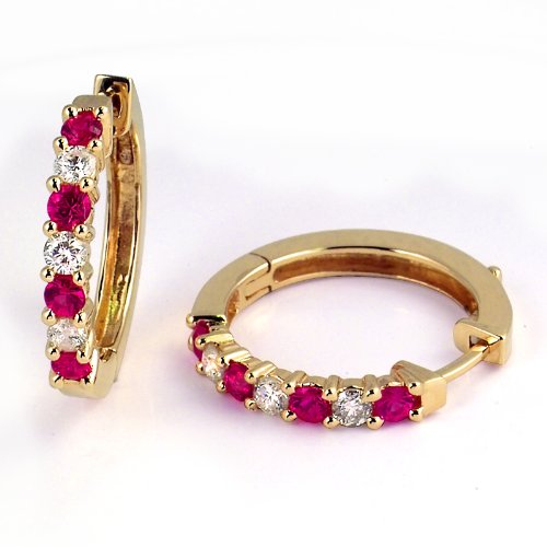 (1 Carat Prong Set Ruby & Diamond Hoop Earrings in 14k Yellow Gold (with Safety)