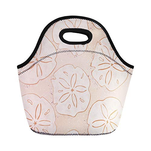 Semtomn Lunch Tote Bag Kelp Forest Yellow Sand Dollars Ink and Marker Brush Reusable Neoprene Insulated Thermal Outdoor Picnic Lunchbox for Men ()
