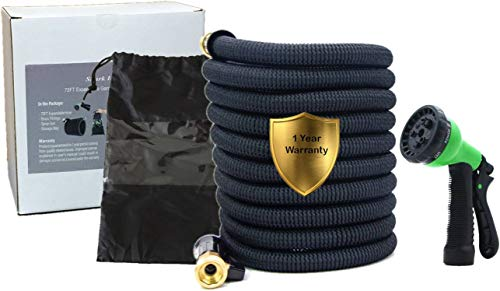 Shark Industrial 75ft Expandable Garden Hose with Double Latex Core, 3/4″ Solid Brass Fittings, Extra Strong 3750D Fabric Flexible Retractable Hose with 8 Mode Spray Nozzle and Storage Bag