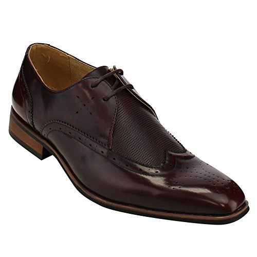 MIKO LOTTI FC78 Men's Wing Tip Lace Up Brogue Oxford Dress Shoes, Color:BURGUNDY, Size:9