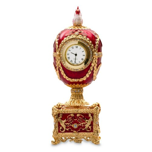 - Swarovski Crystals Chicken with Clock Red Gold Plated Faberge Style Egg Box Figurine Limited Edition Collectible Faberge Reproduction
