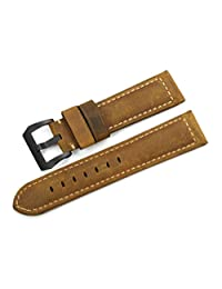 iStrap 24mm Genuine Leather XL Men's Vintage Tang Watch Band for PANERAI LUMINOR - Brown