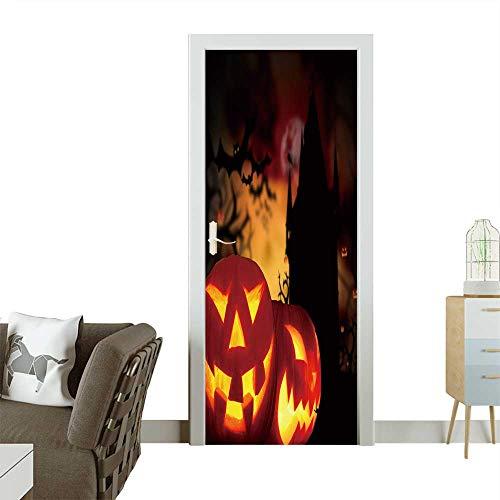 Decorative Door Decal Glowing Pumpkins in a Dark