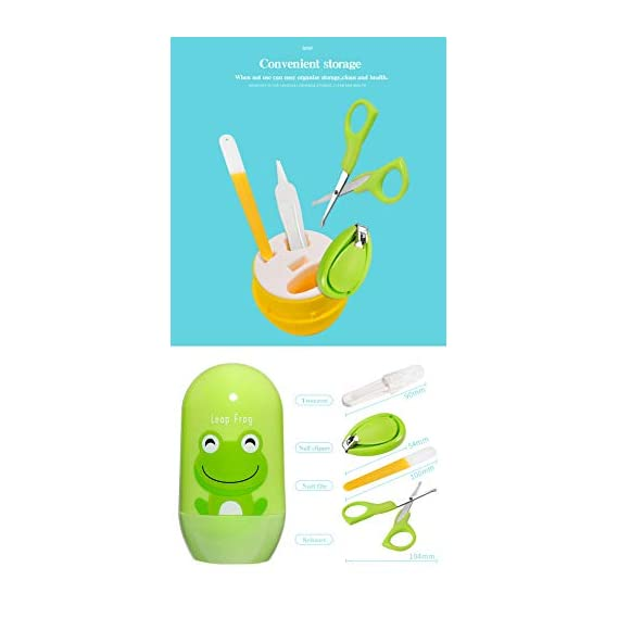 xcluma Infant's and Toddler's 4 in 1 Grooming Set with Baby Scissor; File and Tweezer Baby Nail-Care Kit (Random Color