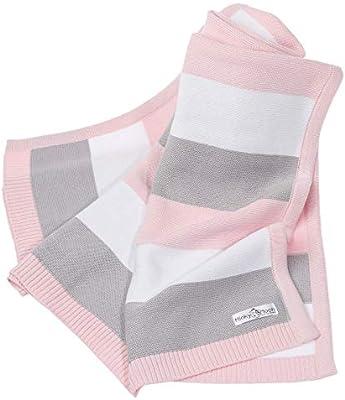 Manta de bebé hecha de 100% algodón orgánico - manta de punto ideal como manta de bebé, primera manta, manta de lana o manta de bebé en menta/blanco natural ...