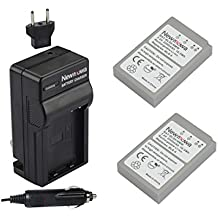 Newmowa BLS-5 Battery (2-Pack) and Charger kit for Olympus BLS-5, BLS-50, PS-BLS5 and Olympus OM-D E-M10, PEN E-PL2, E-PL5, E-PL6, E-PL7, E-PM2, Stylus 1