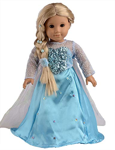 """Blue Princess Shoes for 18/"""" American Girl Doll  Elsa fits 18 inch Dolls,Journey"""