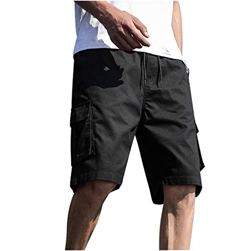 iHHAPY Sport Shorts Pants Men's Summer Outdoors Cargo Workpants Casual Patchwork Beachwear Overalls Plus Size Black ()