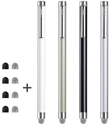 Stylus, ChaoQ 4 Pcs Mesh Fiber Tip Stylus Pens for Universal Touch Screens Devices, with 4 Extra Replaceable Mesh Fiber Tips and 4 Extra Rubber Tips ()