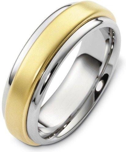 Dora Titanium Ring (Stylish 18 Karat Yellow Gold and Titanium 7mm Wedding Band Ring - 11.5)
