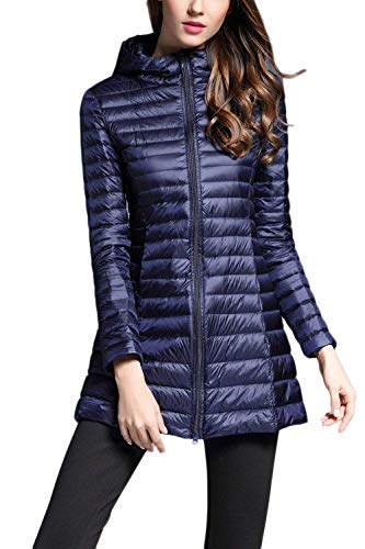 Outerwear Long Zip Navy Oversize Ladies Quilted Down Fashion Fit Clothing Jacket Long Sleeve Autumn Leisure Outdoor Lightweight Quilted Warm Winter Slim Elegant Jacket wa10qqBt