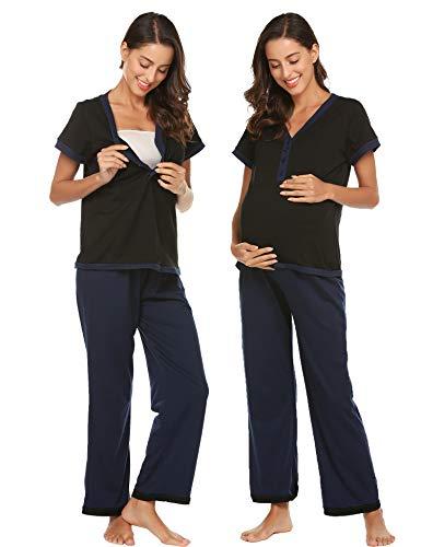 Ekouaer Henley Nursing Nightgown Short Sleeve Top and Long Pants MaternityΝrsing Pajama Set S-XXL