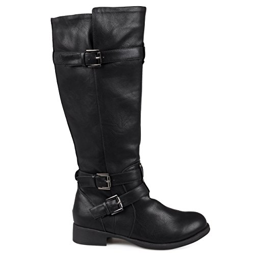 Lady Pirate Boots (Brinley Co Women's Buffalo Knee High Boot, Black, 8.5 Regular)