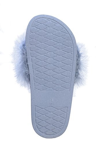 Pupeez Girls Open Toe Flip Flop Slide Slippers with Soft Faux Fur Top and Hard Sole by Pupeez (Image #3)
