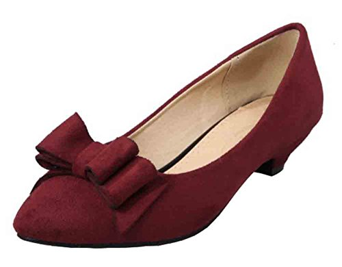 Easemax Womens Sweet Pointed Toe Low Cut Low Heel Pumps Shoes Wine Red