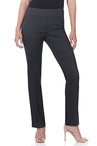 - Rekucci Women's Ease in to Comfort Straight Leg Pant with Tummy Control (4,Charcoal Pintstripe)