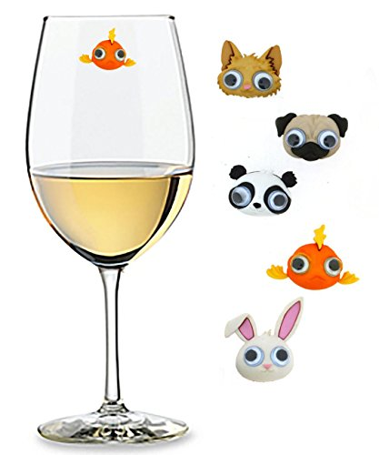 Googly Eyed Wine Charms Set of 5 Magnetic Drink Markers & Tags for Stemless Glasses, Champagne Flutes and More (Martini Glass Set Chiller)
