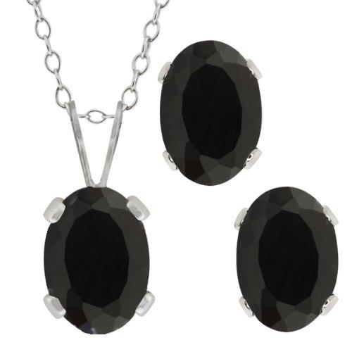 1.46 Ct Oval Black Onyx Gemstone Sterling Silver Pendant Earrings Set