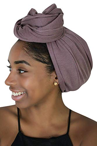 Rayna Josephine Stretch Head Wrap - Long Solid Color Turban Hair Scarf Tie (Clay ()