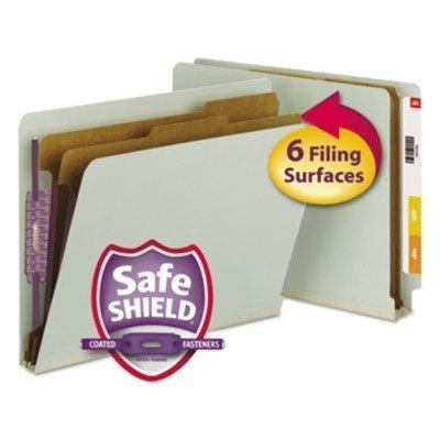 Smead End Tab Classification Folder - Letter - 8.5 x 11 - 1/3 Cut Tab - 2 Divider - 2 Expansion - 2 Capacity - 10 / Box - 25pt. - Gray, Green by Smead