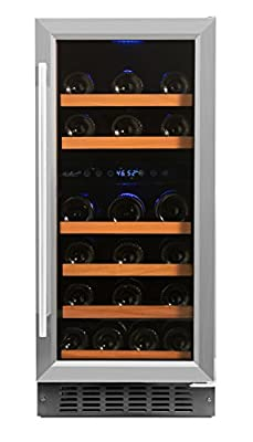 Smith & Hanks RW88DR 32 Bottle Dual Zone Under Counter Wine Refrigerator, 15 Inches Wide, Built-In or Free Standing