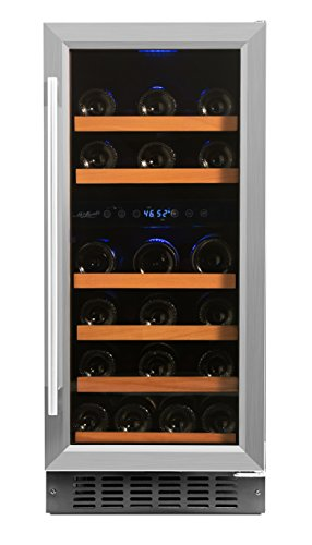 Smith & Hanks 32 Bottle Under Counter Wine Refrigerator, Dual Temperature Zones, 15 Inches Wide, Built-In or Free ()
