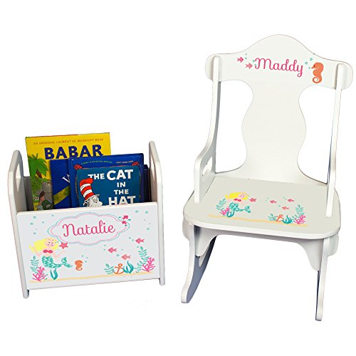 Sea Rocking Chair - Personalized Blonde Mermaid Princess Book Caddy and Puzzle Rocker Set